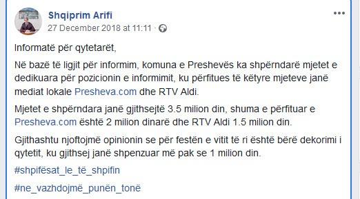 Fejsbuk objava Šćipri Arifija (foto: Skrinšot, Fejsbuk)